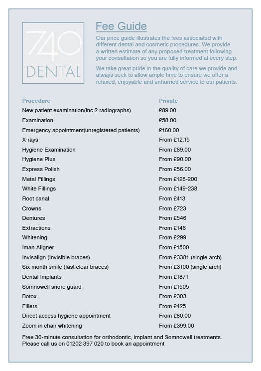 740 DENTAL PRIVATE FEE LIST JULY 2019