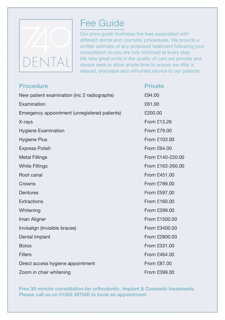 740 Dental Price List